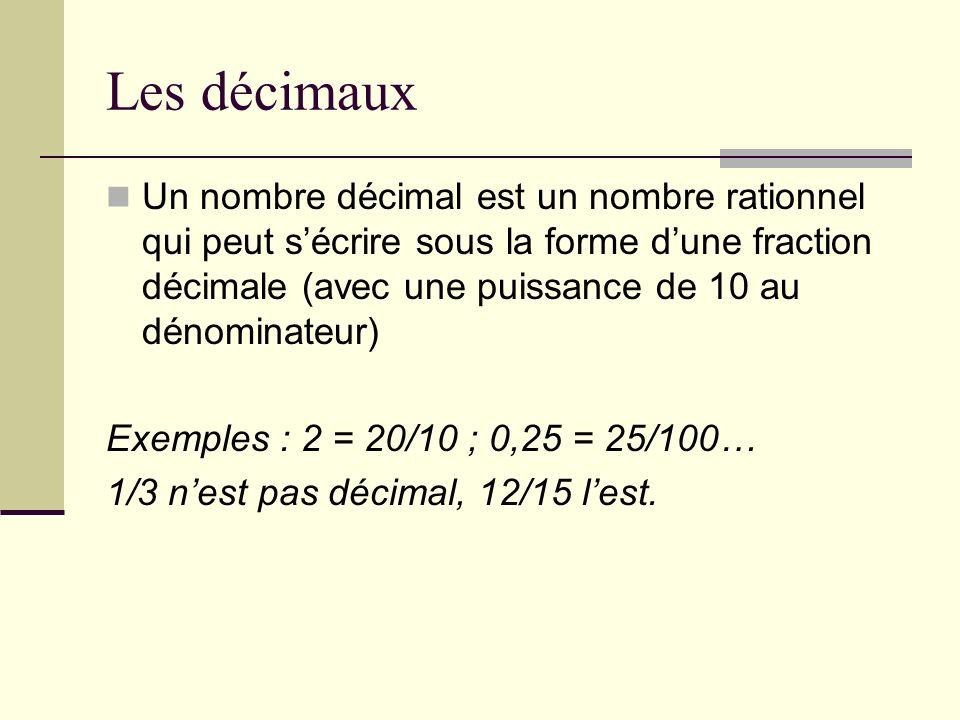 Autre caractérisation Un nombre décimal est un nombre dont lécriture fractionnaire irréductible est de la forme N/2 a 5 b.