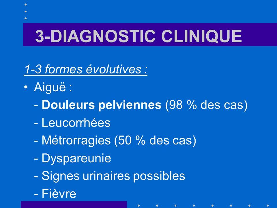 3-DIAGNOSTIC CLINIQUE Pauci- symptomatique : seuls 1 ou 2 signes présents Silencieuses : Chlamydiae +++ passent inaperçues et se révèlent à loccasion dune complication tardive