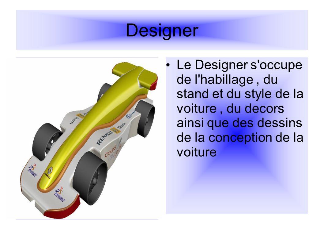 L ingenieur de conception L ingenieur de conception est chargé de prendre les dimensions de chaques parties de la voiture afin d avoir de bonnes bases.
