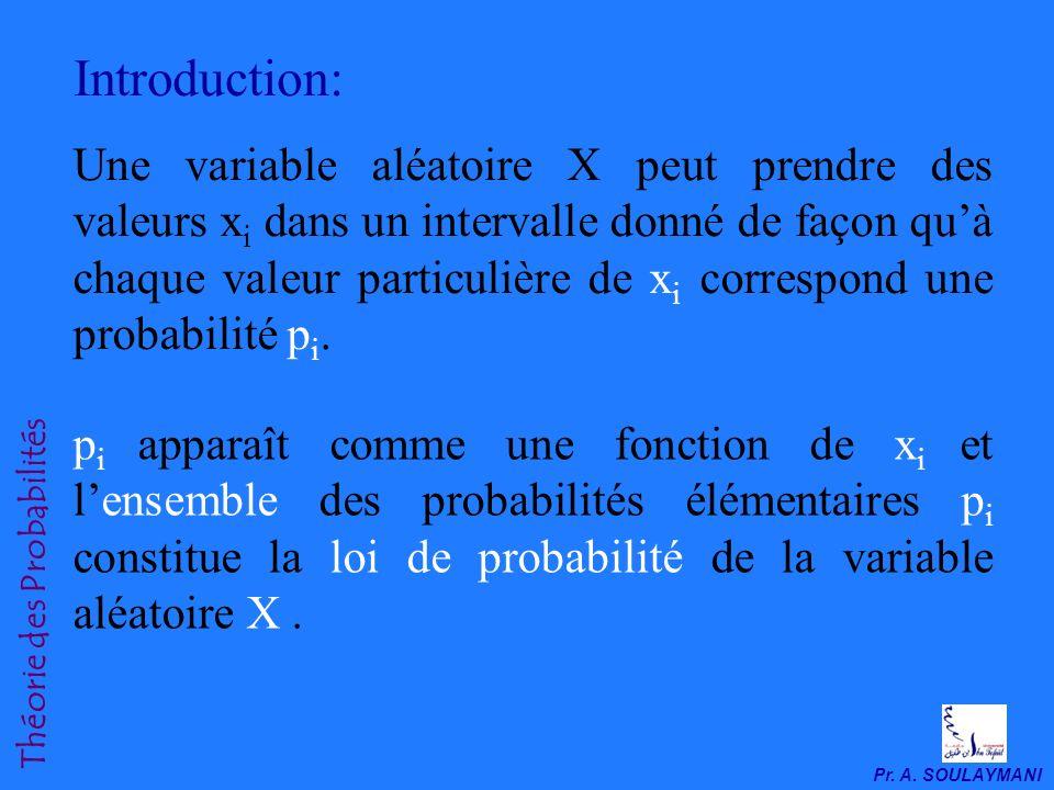 Une variable aléatoire X peut prendre des valeurs x i dans un intervalle donné de façon quà chaque valeur particulière de x i correspond une probabilité p i.