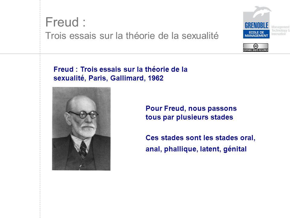 Tous restons plus ou moins électivement fixés à un ou plusieurs stade(s) Ces fixations déterminent une personnalité Freud : Trois essais sur la théorie de la sexualité