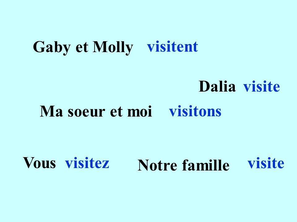 Gaby et Molly visitent Daliavisite Ma soeur et moi visitons Vousvisitez Notre famille visite