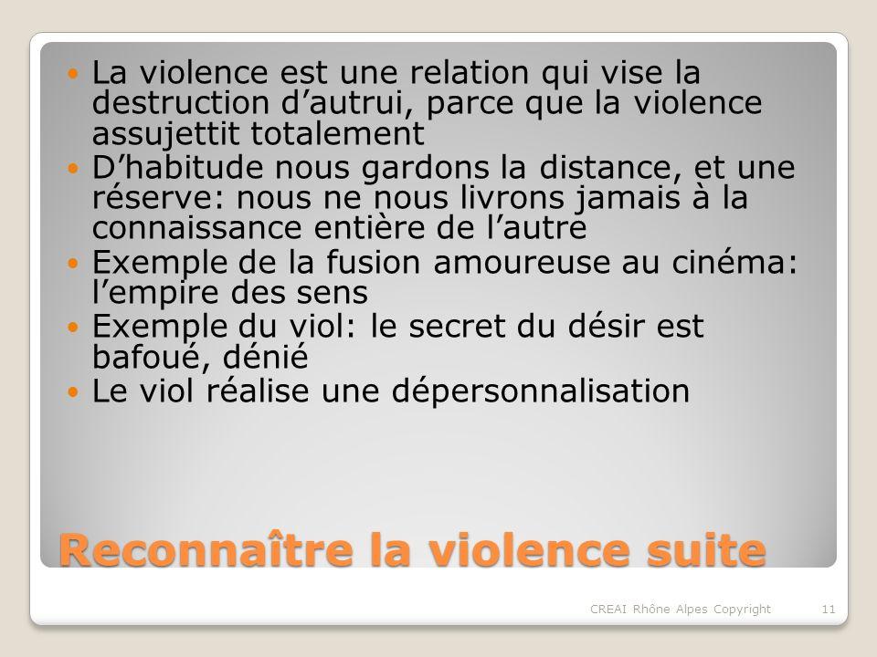 Reconnaître la violence suite Au-delà de ces exemples extrêmes: des situations plus « anodines » Les formes dincarcération… Les oppressions familiales… 12CREAI Rhône Alpes Copyright