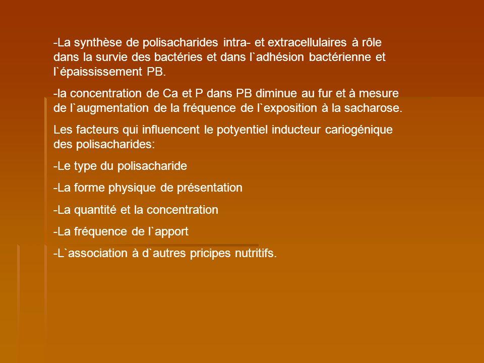 Le type du polisacharide: - La capacité de diffusion de PZ au niveau PB; -la capacité d`être dégradé dans l`acide (lactique, piruvique, acétique, étylique, formique, propionique); - Le degré d`utilisation par des bactéries comme nutrient et pour la synthèse de PZ extracellulaire (SM, A.