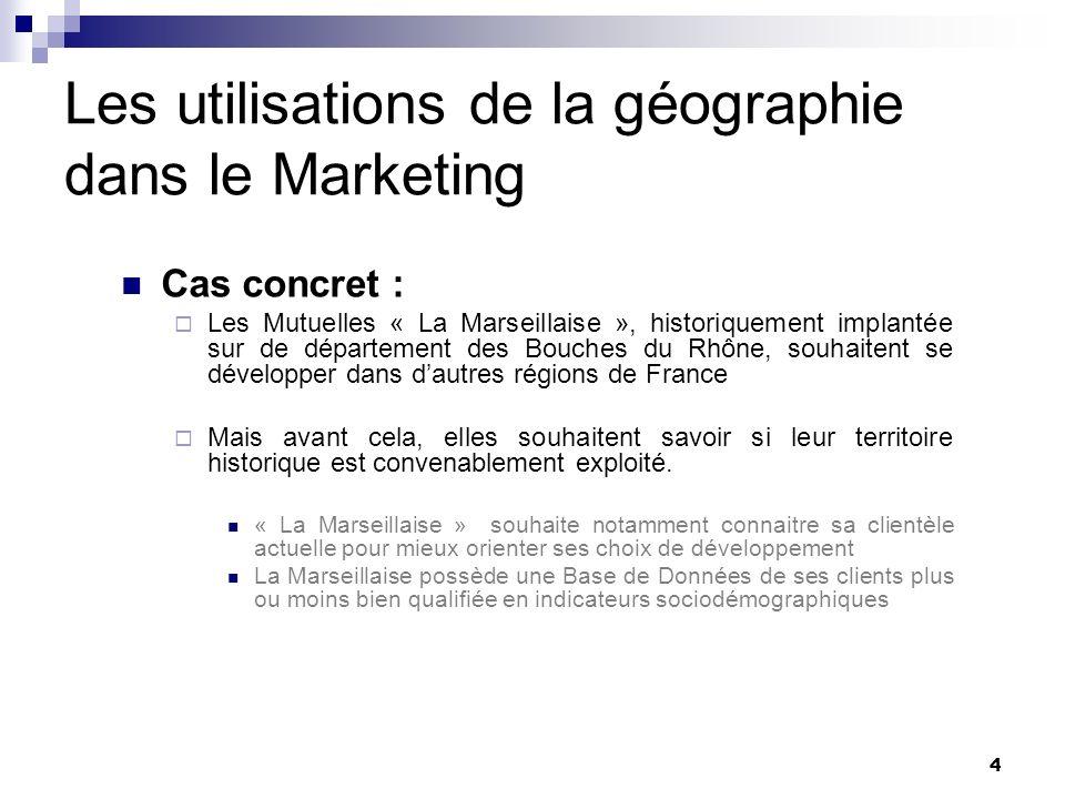 Les utilisations de la géographie dans le Marketing La Marseillaise possède 8 agences : Numérotées : AG1300, AG1320, AG5670, AG1460, AG5530, AG1450, AG1350 et AG1370 Implantées sur la ville de Marseille Nous allons étudier leur zone de chalandise i.e.