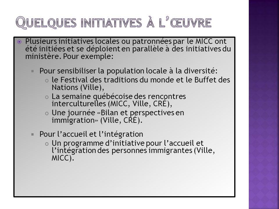 Pour linsertion en emploi Le Salon de lemploi pour personnes immigrantes en Estrie (MICC et MESS), Un programme daccompagnement des jeunes travailleurs (MICC /MESS).