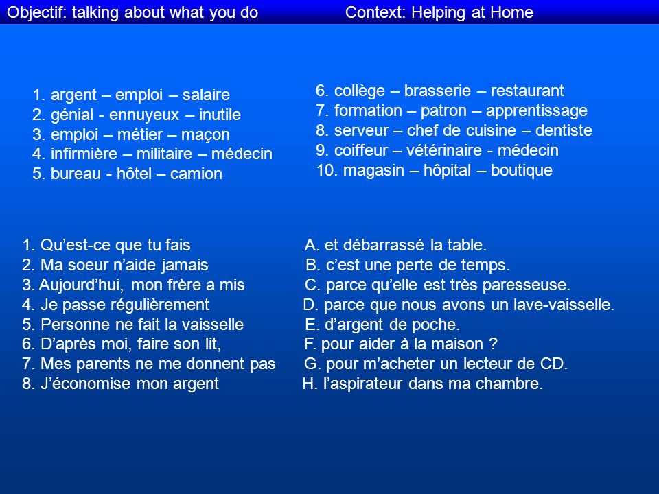 Objectif: talking about what you do Context: Helping at Home