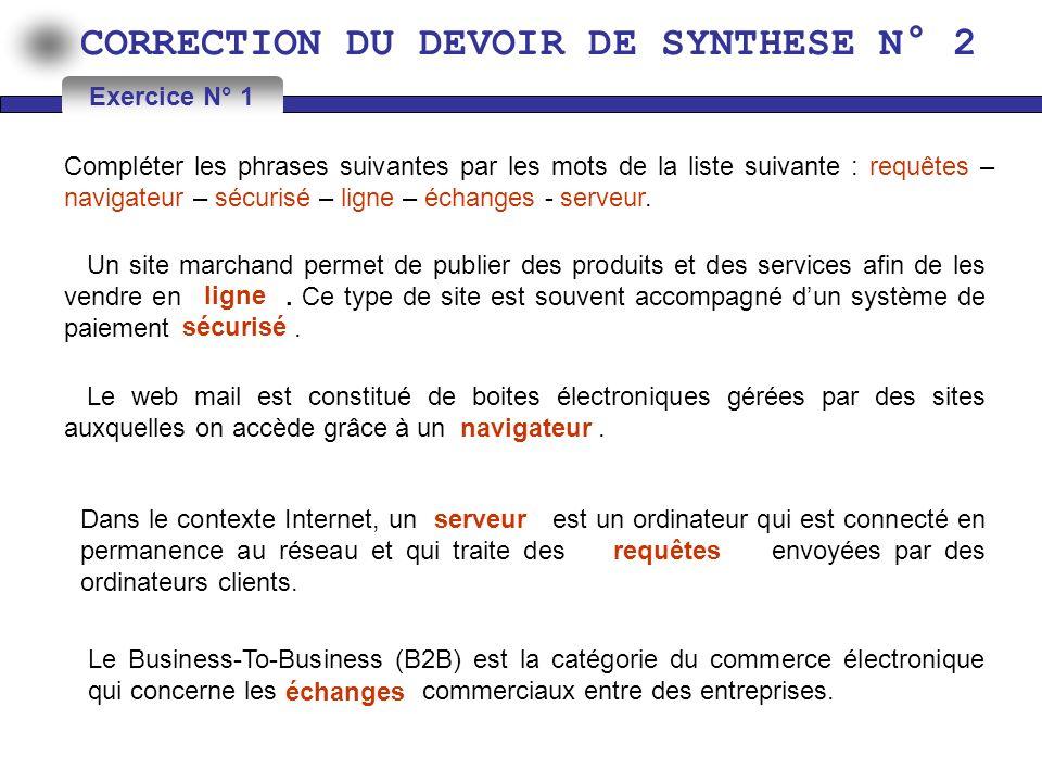 CORRECTION DU DEVOIR DE SYNTHESE N° 2 1) Donner le type de chaque adresse : Exercice N° 2 AdresseType degache.élève@vaoila.fr http://193.95.94.35 ftp://ftp.microsoft.com 193.95.93.35 http://www.edunet.tn/insc/insc.php Adresse e-mail Adresse Web Adresse ftp Adresse IP Adresse Web (URL) 2) Définir les termes suivants : Navigateur : FSI : Est un logiciel de communication sur Internet.