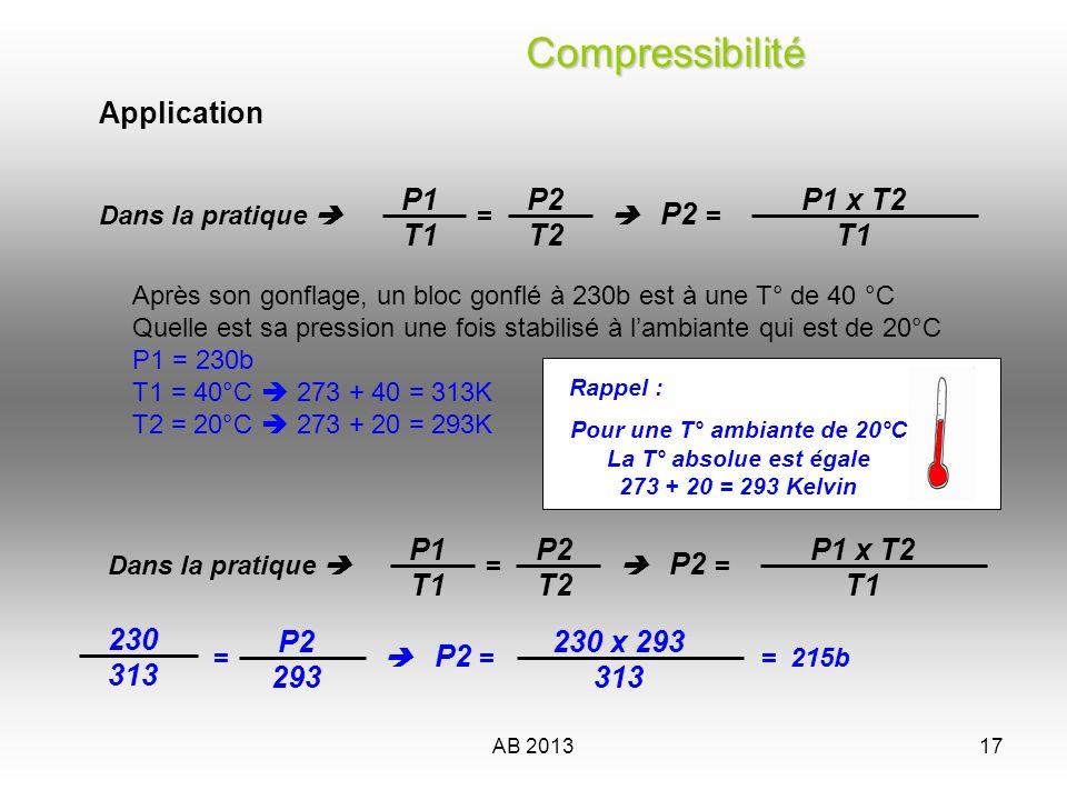 AB 201318 P1 x T2 T1 P2 = Application : Paramètres après chargement Pression des blocs = 200 b Température des blocs = 50° ---------- Paramètres dutilisation Température des blocs = 14° Pression des blocs = ?.