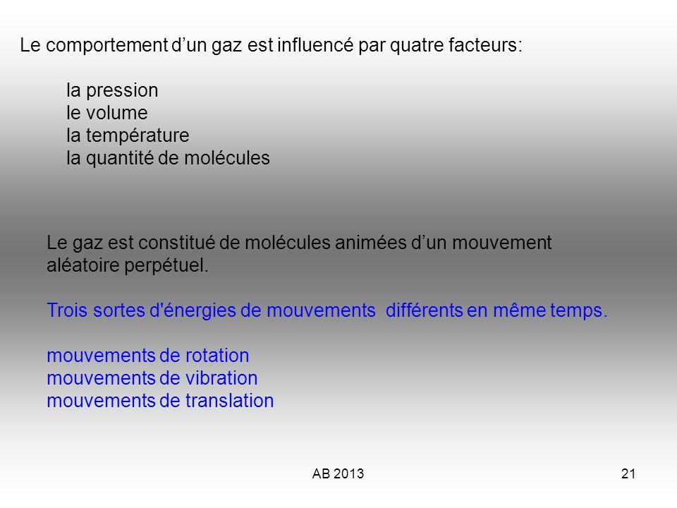 AB 201322 Les molécules de gaz Dans les mouvements de translation, les molécules se déplacent en ligne droite d un point à un autre, frappent les parois de leur contenant (ce qui crée d ailleurs la pression), et se frappent entre elles, rebondissent et repartent en ligne droite.