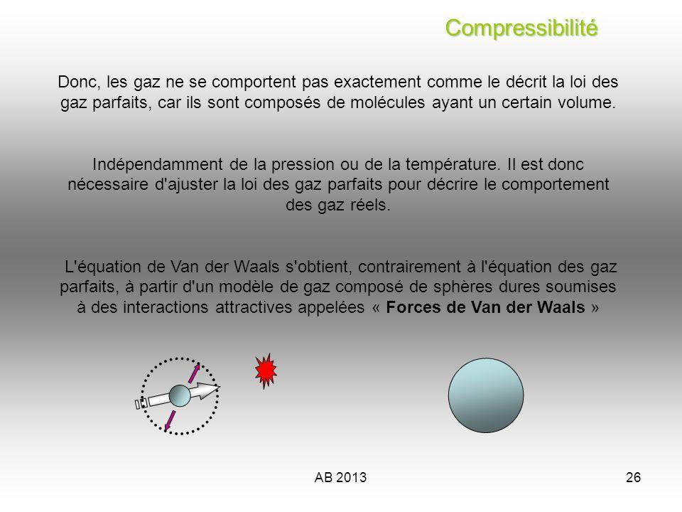 AB 201327 Compressibilité Compressibilité Equation détat de Van der Waals (prix Nobel 1910) L idée de van der Waals a été la suivante : 1) Remplacer la pression du gaz parfait en introduisant une constante de pression interne a* « constante de pression interne » pour lair 135,8 kPa·dm )/mol² leffet des attractions moléculaires 2) Remplacer V (conteneur) par le volume réel du gaz, en introduisant une constante de covolume b* « constante de covolume » pour lair 0,0364 dm /mol leffet des répulsion moléculaires *Données expérimentales sujettes à d importantes variations 6 3 Le facteur de compressibilité (Z) PV=znRT 3
