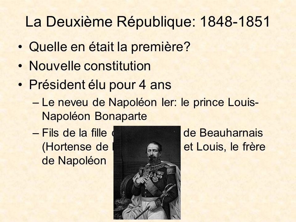 Le Second Empire: 1851-1870 Le Président Louis-Napoléon Bonaparte a gouverné la république pour 3 ans A voir sapprocher la fin de son mandat de 4 ans: –Un coup détat –Il sest proclamé empereur: Napoléon III Qui était Napoléon II?