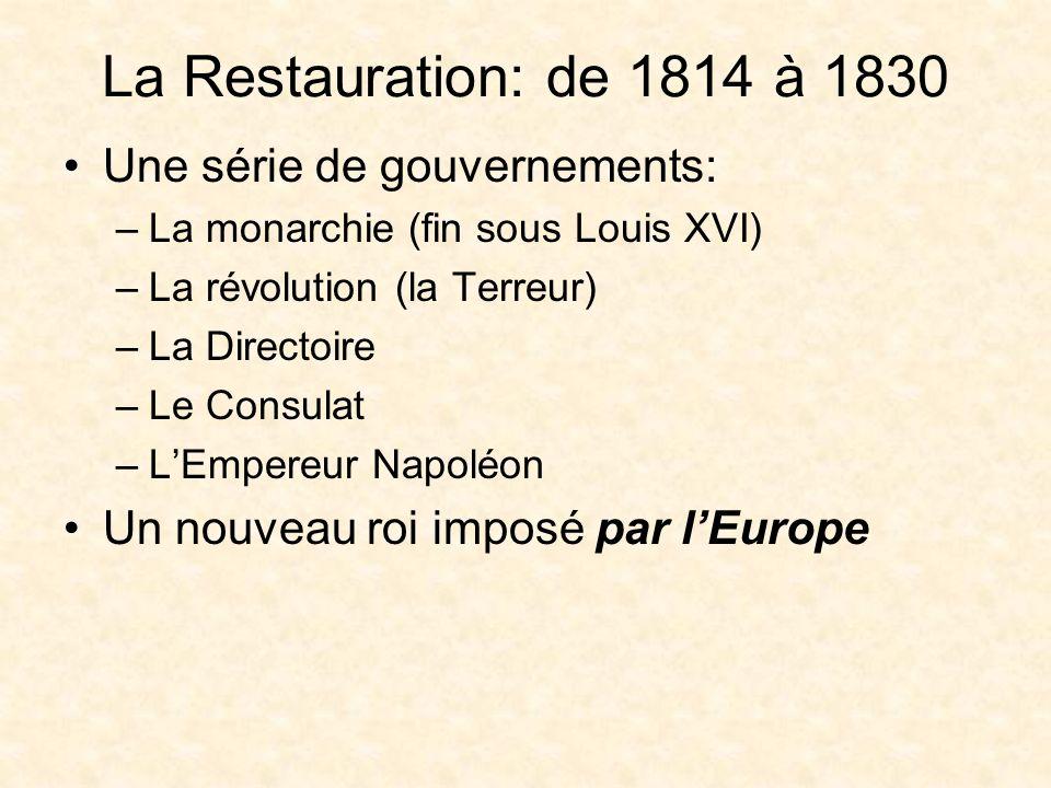 Louis XVIII (1755-1824) Le nouveau roi: le frère de Louis XVI: Louis XVIII Roi de 1814 à 1824 Pendant les Cent-Jours, il a été chassé des Tuileries, le palais à Paris Il est revenu après Waterloo en 1815.