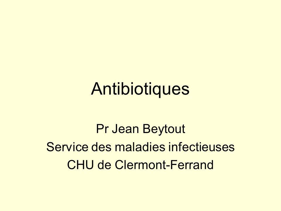 Familles dantibiotiques Bétalactamines –Penicillines –Monobactam, penems –Cephalosporines (1ère, 2ème, 3ème gen.) –Inhibiteurs de bétalactamases Aminosides Cyclines Macrolides et apparentés Phénicolés Polymyxines Fosfomycine, a fusidique, rifamycines Quinolones Glycopeptides Sulfamides, sulfones, autres antifoliniques Imidazolés