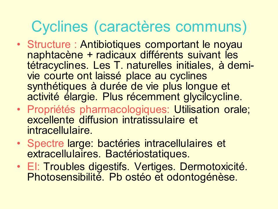 Doxycycline et minocycline Bactériologie : Actifs/Intracellulaires: brucelles,mycoplasmes, chlamydiae, rickettsies, mais aussi Yersiniae, Borrelia et leptospires, tréponèmes, anaérobies + paludisme.