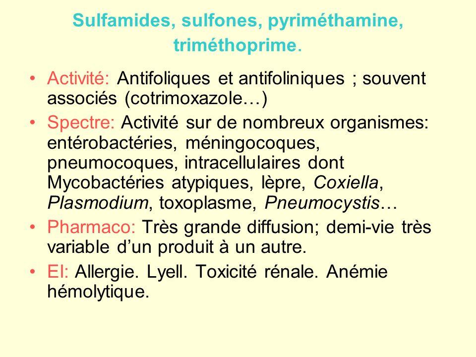 Sulfamides et antifoliniques En fonction de la pharmacocinétique –Sulfamides urinaires –Sulfamides intestinaux –Sulfamides à demi-vie courte: sulfadiazine –Demi-vie moyenne: sulfaméthoxazole-triméthoprime –Longue ½ vie: sulfadoxine-pyriméthamine Indications –Infections urinaires –Infections digestives (typhoïde) –Infections cutanées, infections localisées à bactéries sensibles (ostéites) –Paludisme –Toxoplasmose –Pneumocystose