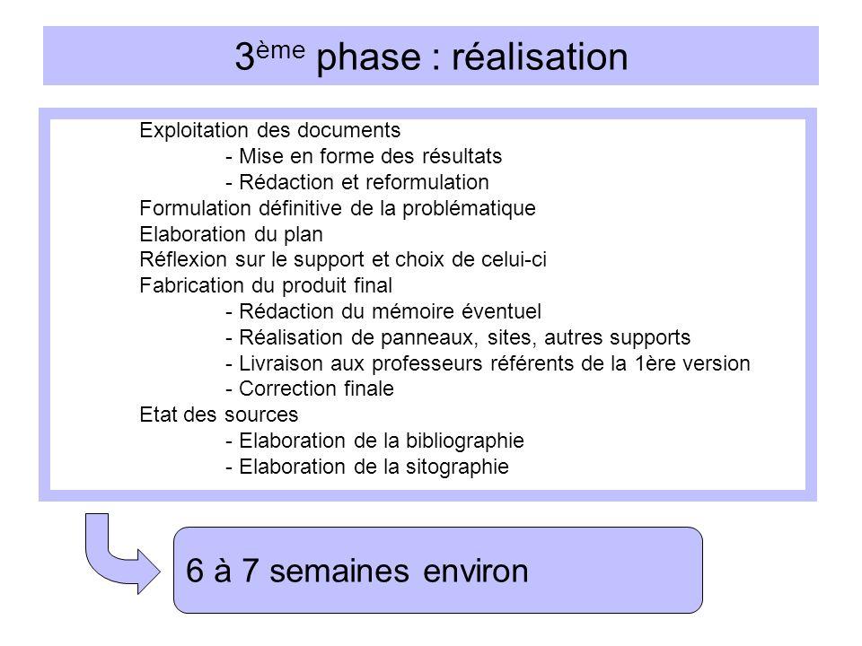 4 ème phase : évaluation Préparation - Rédaction des synthèses personnelles - Tirages des documents pour le jury - Mise au point de la présentation orale Passation - Eventuellement oral « blanc » - Examen final 2 à 3 semaines environ