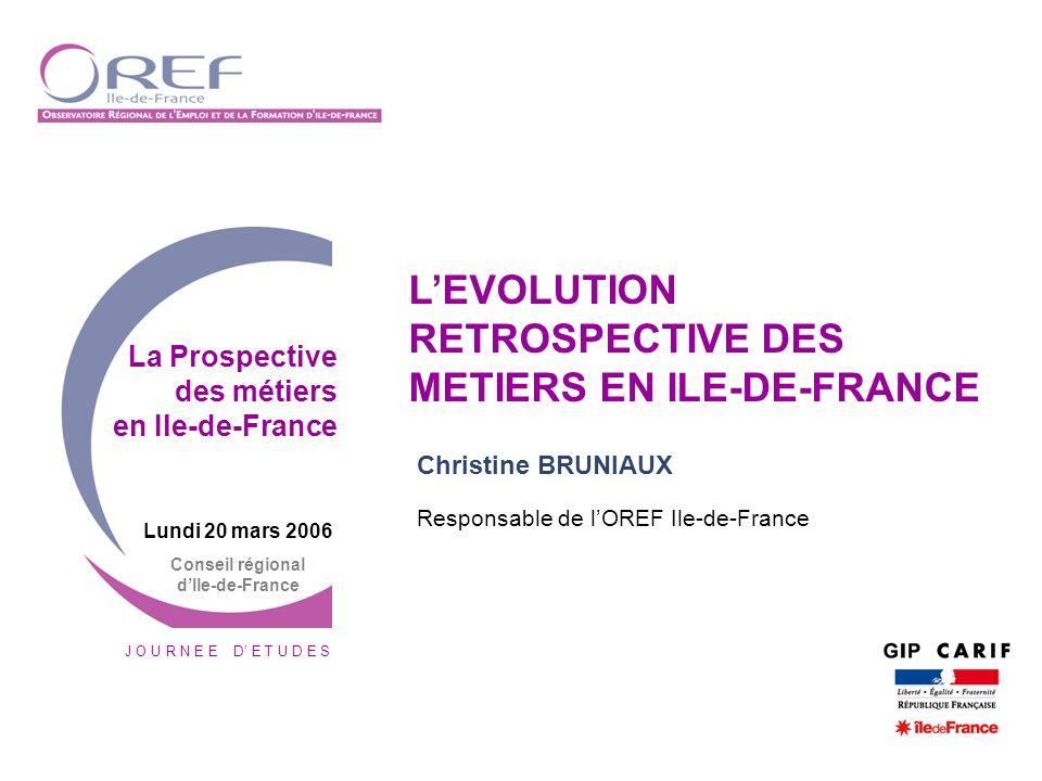 Journée d études La Prospective des métiers en Ile-de-France - 20 mars 2006 2 Construire une vision globale des métiers
