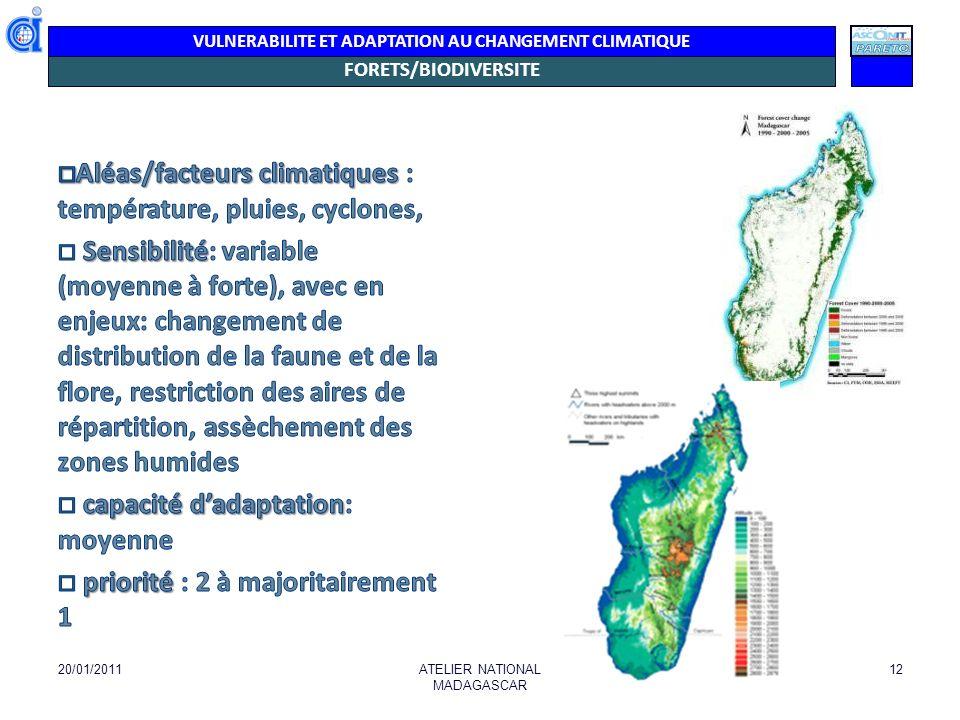 VULNERABILITE ET ADAPTATION AU CHANGEMENT CLIMATIQUE FORETS/BIODIVERSITE Lien Endémisme, Couverture Forestière, AP 20/01/2011ATELIER NATIONAL MADAGASCAR 13 En haute altitude (A- J), iles BV peuvent être associés à des migrations de certaines espèces ayant subi les effets du changement climatique.