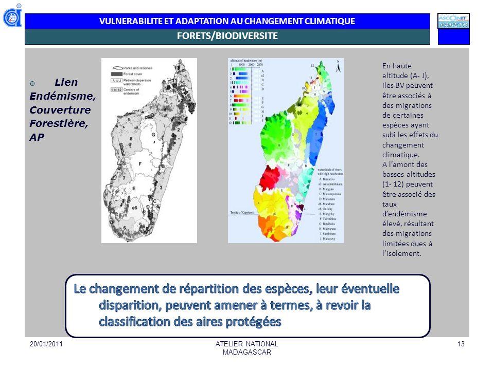 VULNERABILITE ET ADAPTATION AU CHANGEMENT CLIMATIQUE ILLUSTRATIONS : AIRES PROTEGEES (actuelles et potentielles) 20/01/2011ATELIER NATIONAL MADAGASCAR 14