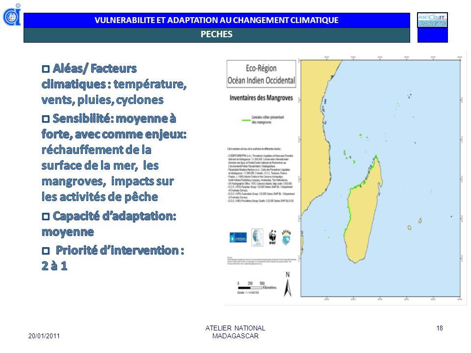 VULNERABILITE ET ADAPTATION AU CHANGEMENT CLIMATIQUE ENJEUX PÊCHES - Rôle économique de la filière crevettière, liée aux mangroves (> 300.000 ha) - destruction des coraux et des récifs due à l absorption de CO², liée également à l élévation de la température - élévation du niveau de la mer - inondation des zones basses côtières et la réduction des récifs érosions côtières, intrusion deau salée baisse des ressources halieutiques et une transformation des couches végétales protectrices des côtes.