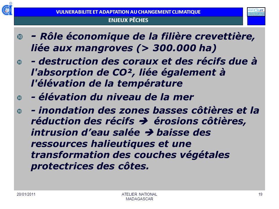 VULNERABILITE ET ADAPTATION AU CHANGEMENT CLIMATIQUE ILLUSTRATION PECHE HAUTURIERE 20/01/2011RAPPORT NATIONAL MADAGASCAR 20