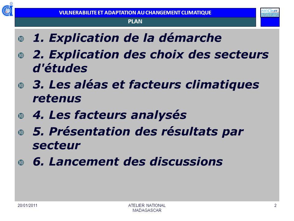 VULNERABILITE ET ADAPTATION AU CHANGEMENT CLIMATIQUE OBJECTIF/ DEMARCHE L analyse de la vulnérabilité et de l adaptation au niveau des pays est une démarche dans la 3è composante du projet ACCLIMATE : Définition et élaboration d une stratégie régionale pour l adaptation au changement climatique 20/01/2011ATELIER NATIONAL MADAGASCAR 3