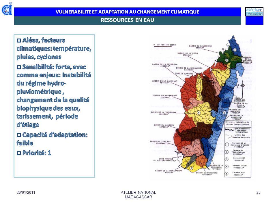 VULNERABILITE ET ADAPTATION AU CHANGEMENT CLIMATIQUE VULNERABILITE DES RESSOURCES EN EAU (Selon Cranfield University- WSUP) Index Score Vulnérabilité Index rareté de l eau (2004) 0,0114 Très faible (abondantes ) La dépendance des eaux souterraines (2004) 0,0013 Très faible (abondantes) Le retrait total d eau douce en pourcentage du total des ressources renouvelables en eau douce (2009)4,4% Faible Approvisionnement annuel en eau renouvelable (projections pour 2025)17.000 m3pp Abondant Vulnérabilité de l homme (2007)0.691 4eme /49 (Afrique) La sensibilité et la capacité d adaptation (2010) 0, 435 Pays à faible développement Indice de vulnérabilité climatique (2007) - Moyen à élevé Informations qui ne tiennent pas compte du Sud ni des variabilités régionales 25/01/2014ATELIER NATIONAL MADAGASCAR 24