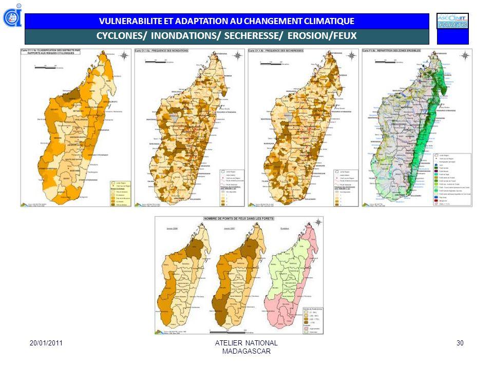 VULNERABILITE ET ADAPTATION AU CHANGEMENT CLIMATIQUE Occurrence Catastrophes 2010- 2011 (Source: Plan de contingence BNGRC) 20/01/2011ATELIER NATIONAL MADAGASCAR 31