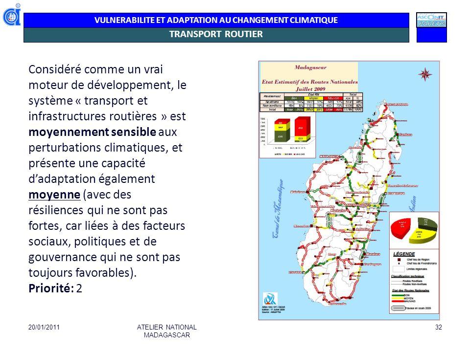 VULNERABILITE ET ADAPTATION AU CHANGEMENT CLIMATIQUE ROUTES Il n y a pas d accès routier convenable du nord au sud.