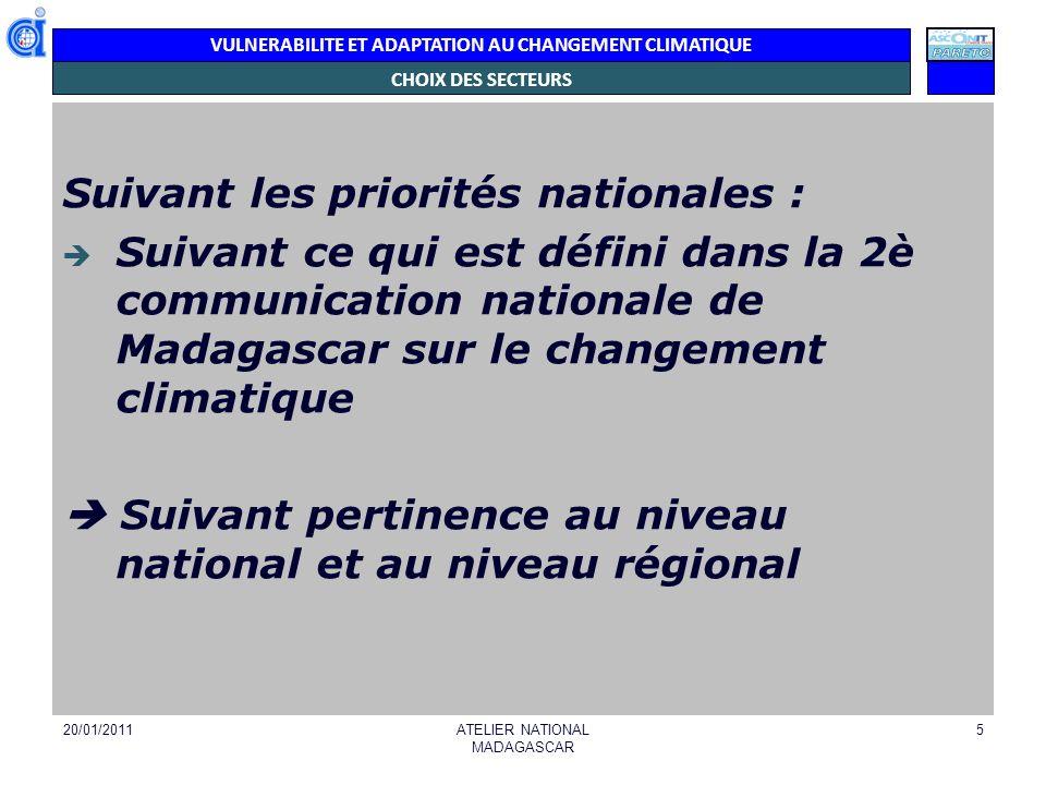 VULNERABILITE ET ADAPTATION AU CHANGEMENT CLIMATIQUE Les secteurs ou systèmes retenus - AGRICULTURE - FORETS/BIODIVERSITE - ZONES COTIERES - PECHES - RESSOURCES EN EAU - SANTE PUBLIQUE - ENERGIE - TRANSPORTS/INFRASTRUCTURES TERRESTRES - GESTION DES RISQUES ET CATASTROPHES 20/01/2011ATELIER NATIONAL MADAGASCAR 6
