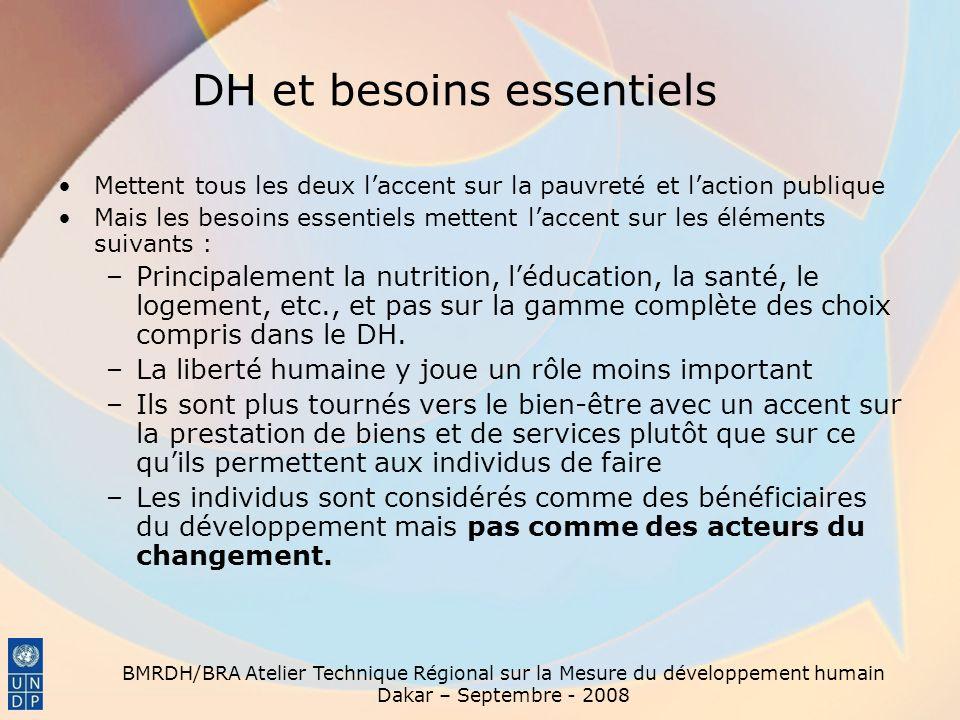 BMRDH/BRA Atelier Technique Régional sur la Mesure du développement humain Dakar – Septembre - 2008 DH et OMD Les OMD sont des objectifs de développement humain et les indicateurs principaux du DH.