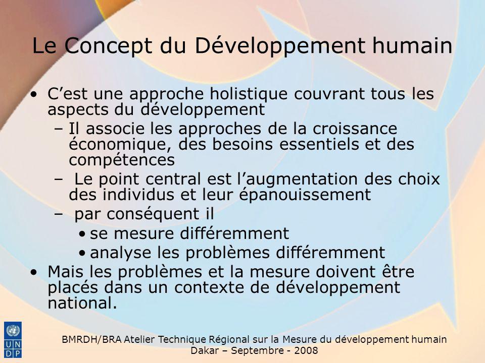 BMRDH/BRA Atelier Technique Régional sur la Mesure du développement humain Dakar – Septembre - 2008 Mesurer le Développement humain En quoi est-il différent .