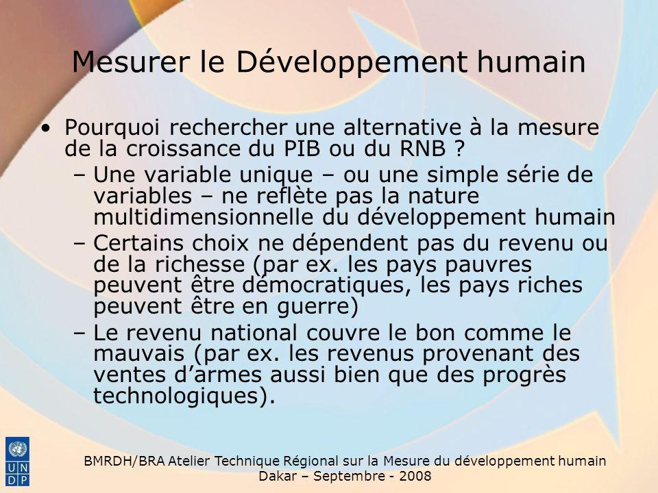 BMRDH/BRA Atelier Technique Régional sur la Mesure du développement humain Dakar – Septembre - 2008