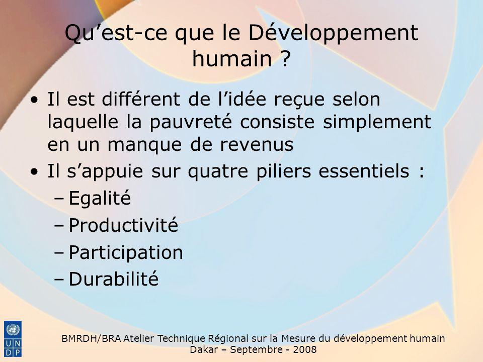 BMRDH/BRA Atelier Technique Régional sur la Mesure du développement humain Dakar – Septembre - 2008 En quoi le DH se distingue-t-il des autres approches du développement .