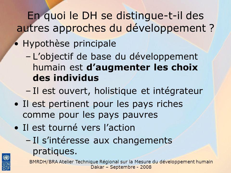 BMRDH/BRA Atelier Technique Régional sur la Mesure du développement humain Dakar – Septembre - 2008 DH et croissance économique La croissance économique est importante –Elle contribue à augmenter la richesse totale dune nation –Elle améliore le potentiel de réduction de la pauvreté et de résolution des autres problèmes sociaux.