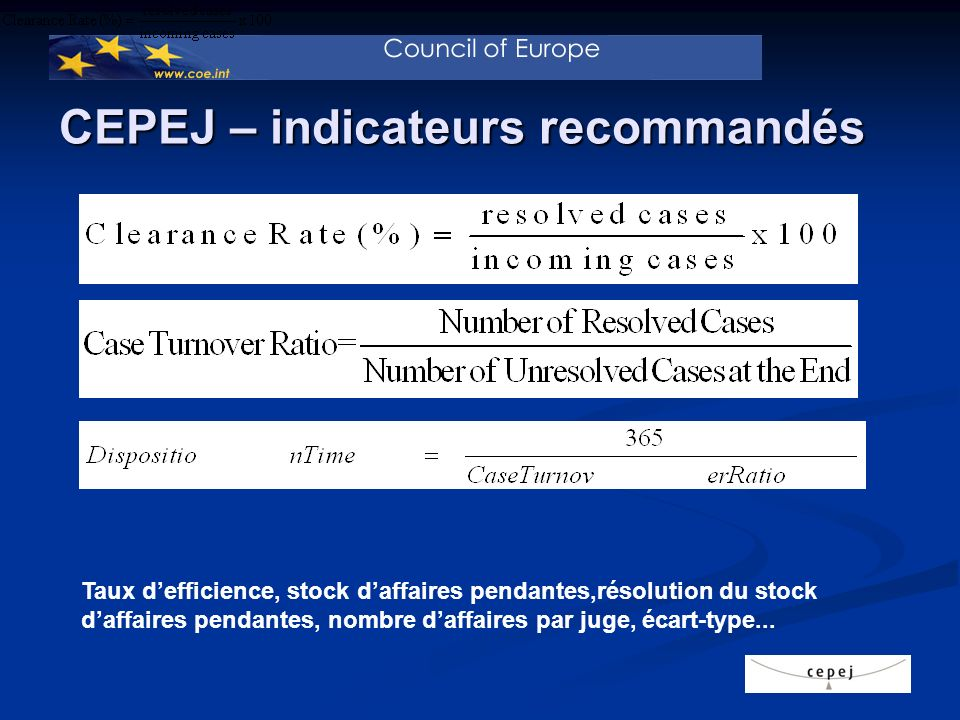 Indicateurs CEPEJ – appliqués au TK I