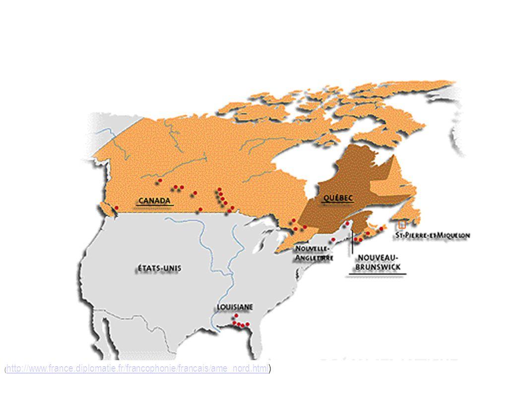 Larchipel francophone de lAmérique du Nord Contexte historique : la Nouvelle-France Québec Acadie Louisiane Îlots francophones : quelquefois des traces seulement, surtout dans la toponymie