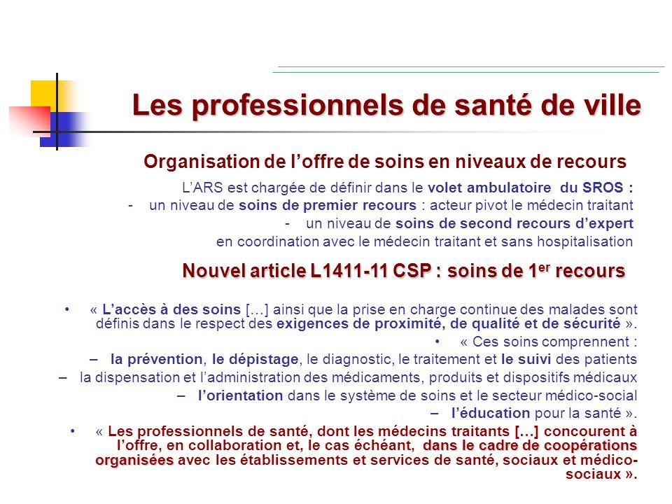 De nouveaux acteurs du 1er recours Renouveau des Centres de santé : Article L6323-1 CSP Légalisation des Maisons de santé : Article L6323-3 CSP Création des Pôles de santé : Article L6323-4 CSP contribution nécessaire des réseaux à la partie ambulatoire du SROS
