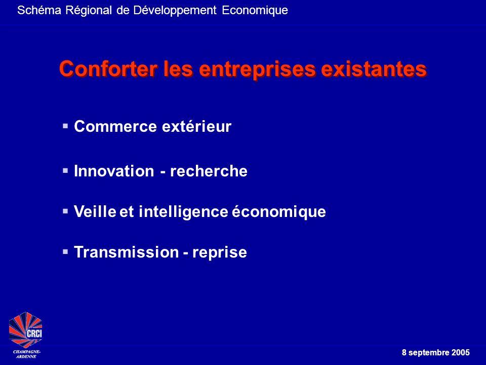 Schéma Régional de Développement Economique 8 septembre 2005 Travailler ensemble Choisir des axes majeurs et Les facteurs clés de réussite La coordination attendue éviter le saupoudrage des aides des structures