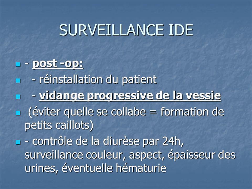 SURVEILLANCE IDE - ensuite et tout le temps ou le patient sera porteur du KT: - ensuite et tout le temps ou le patient sera porteur du KT: - diurèse - diurèse - perméabilité du KT - perméabilité du KT - surveillance T°= détection de syndrome inflammatoire ou infectieux - surveillance T°= détection de syndrome inflammatoire ou infectieux