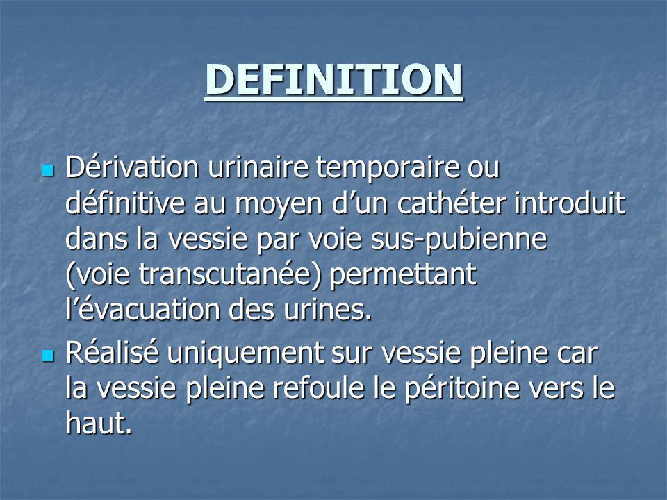 INDICATIONS - si échec dune pose de sonde urinaire - si échec dune pose de sonde urinaire - rétention aiguë = adénome ou cancer de la prostate, prostatite - rétention aiguë = adénome ou cancer de la prostate, prostatite - sténose urétrale - sténose urétrale - traumatisme urétral - traumatisme urétral - rétention chronique : incapacité duriner par les voies naturelles - rétention chronique : incapacité duriner par les voies naturelles
