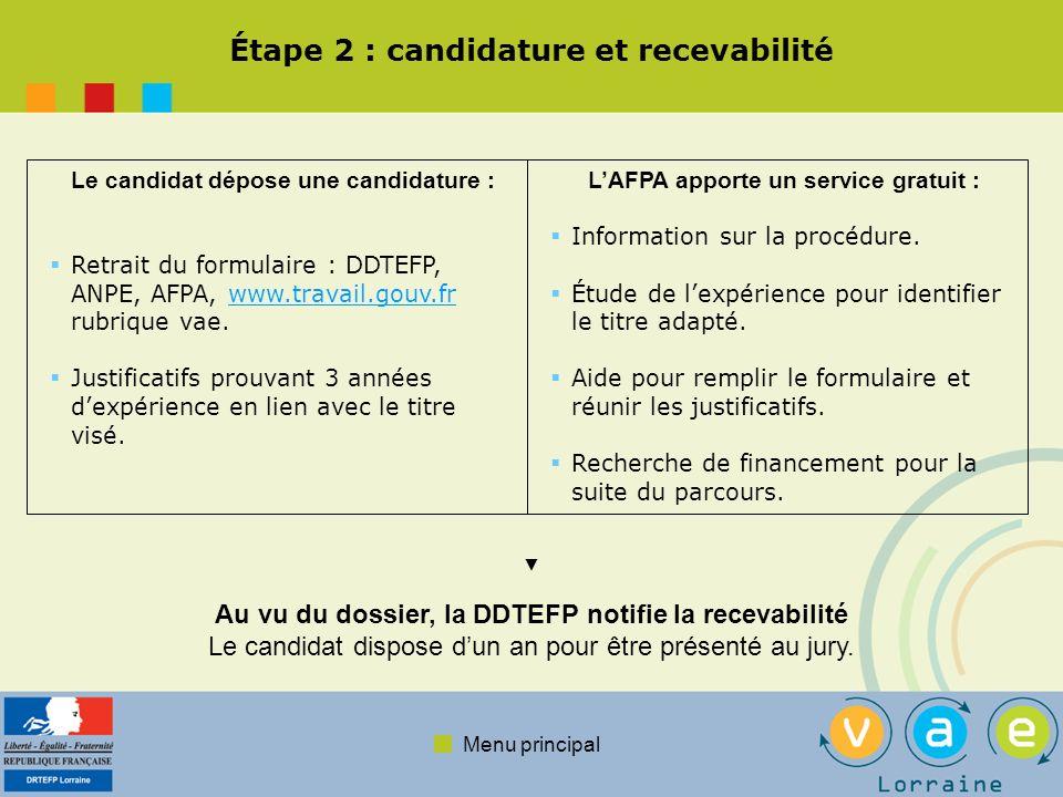 Menu principal Étape 3 : préparation à la validation Bien que facultatif, laccompagnement est déterminant dans la réussite Objectifs de laccompagnement : Aider à constituer le dossier de synthèse des pratiques Professionnelles.