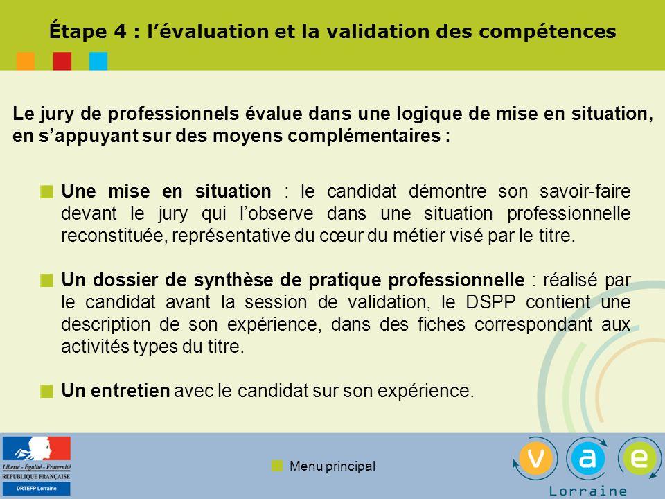 Menu principal La décision du jury Le jury évalue si la maîtrise de lactivité correspond ou non au résultat attendu professionnellement, en se basant sur les compétences clés du référentiel de certification.