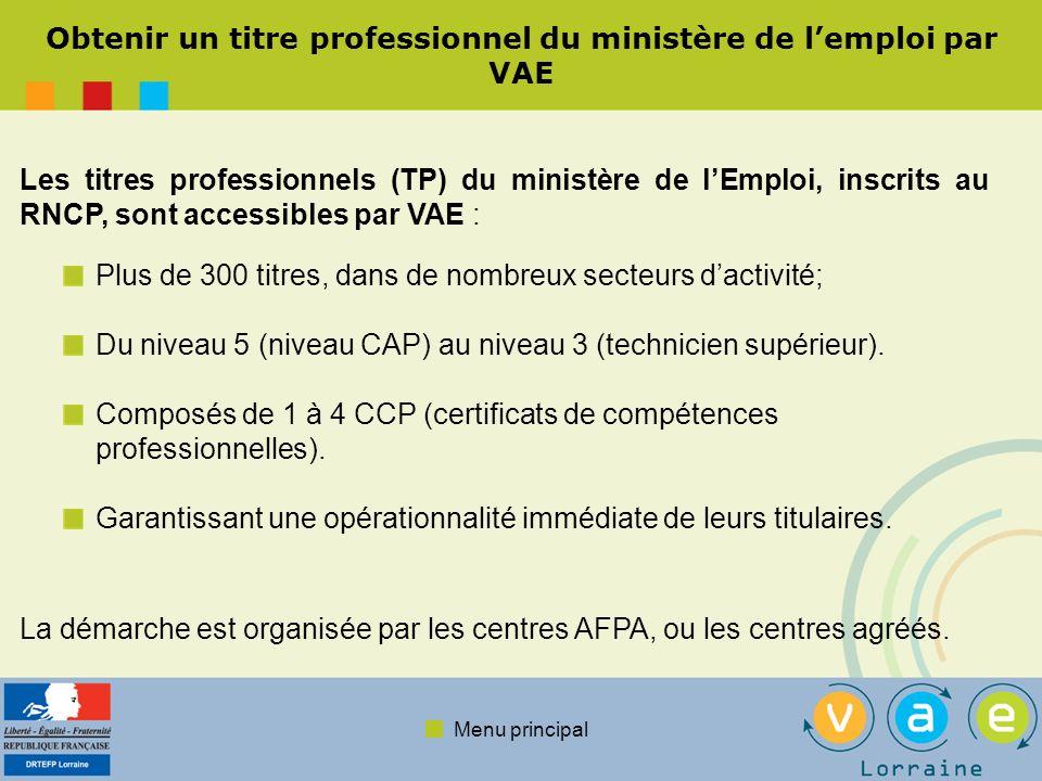 Menu principal Une démarche en 4 ou 5 étapes : La procédure présentée est spécifique aux titres du ministère de lEmploi.