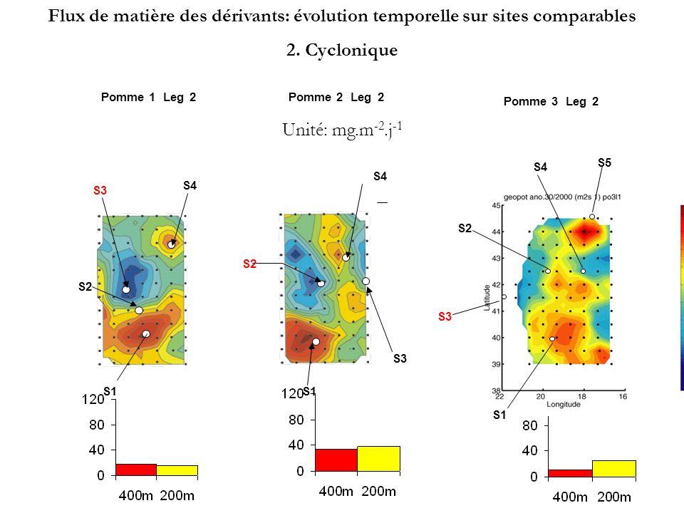 S4 S3 S1 S2 S4 Pomme 1Leg2 S3 S4 Pomme 2Leg2 S1 S2 Pomme 3Leg2 S1 S2 S3 S4 S5 Unité: mg.m -2.j -1 Flux de matière des dérivants: évolution temporelle sur sites comparables 3.