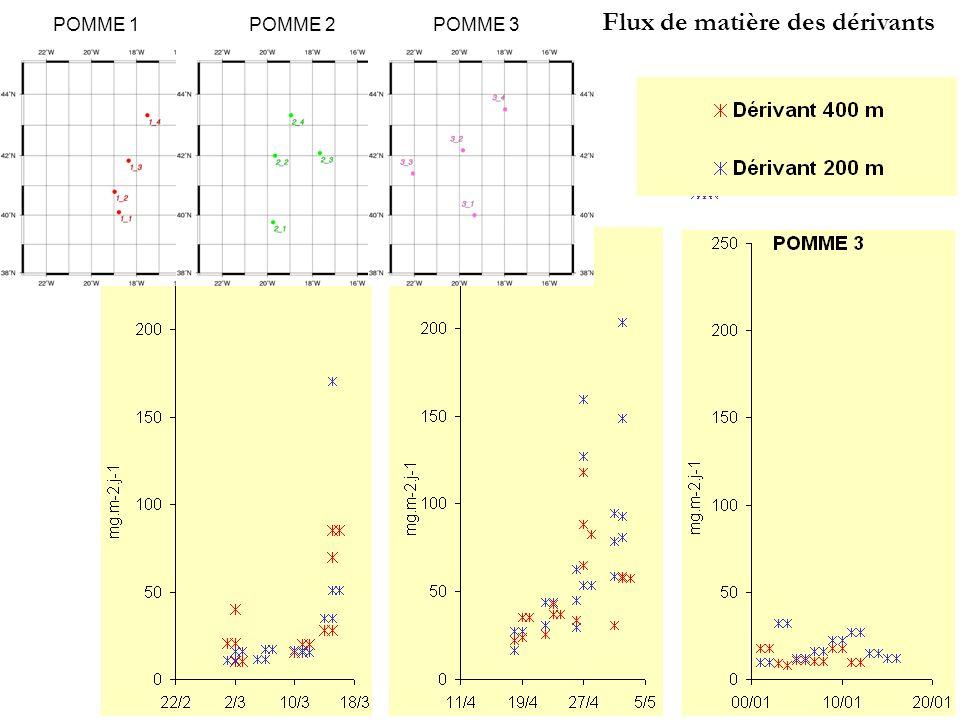 Unité: mg.m -2.j -1 Flux de matière des dérivants
