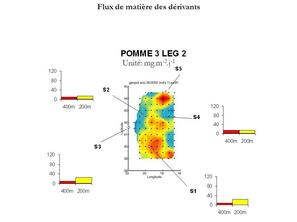 S3 S1 S2 S4 Pomme 1Leg2 S3 S4 Pomme 2Leg2 S1 S2 Pomme 3Leg2 S1 S2 S3 S4 S5 0 40 80 120 400m200m 0 40 80 120 400m200m 0 40 80 120 400m 200m Unité: mg.m -2.j -1 Flux de matière des dérivants: évolution temporelle sur sites comparables 1.