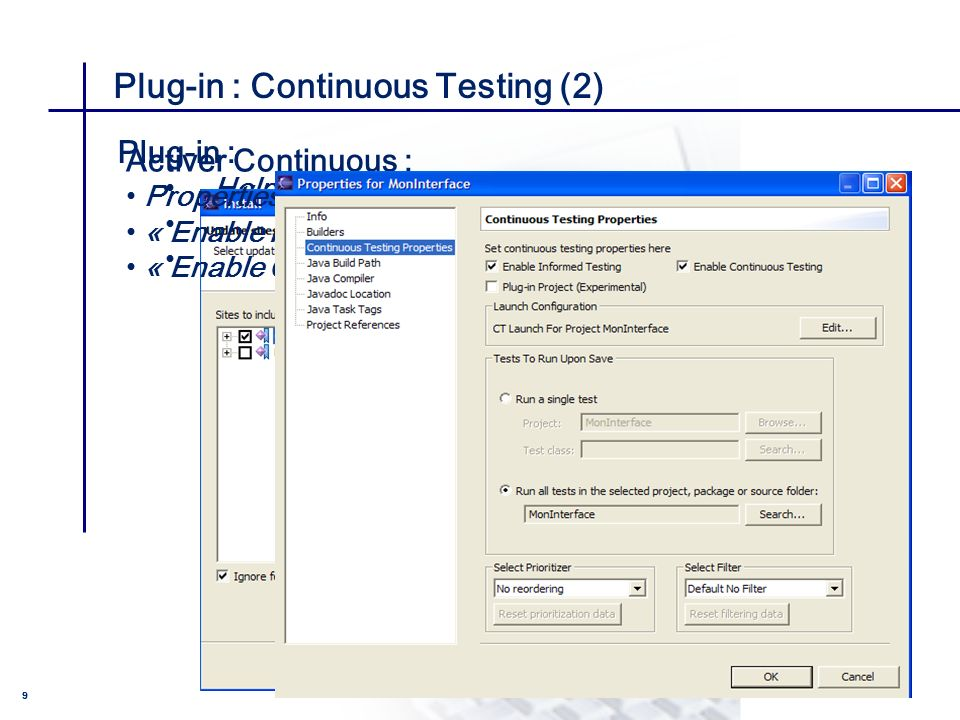 CONSEIL & INGENIERIE 10 Les plus de Continuous testing (1) PRIORISER et FILTRER les tests : Test Filtering and Prioritization -> possibilité de spécifier un ordre dexécution Priorités Most Recent Failures First Most Frequent Failures First Quickest Test First Round Robin Random No reordering Filtres Omit Previous Successes Most Recent Failures Deleted Informed Filter(Ct Only) Default No Filter