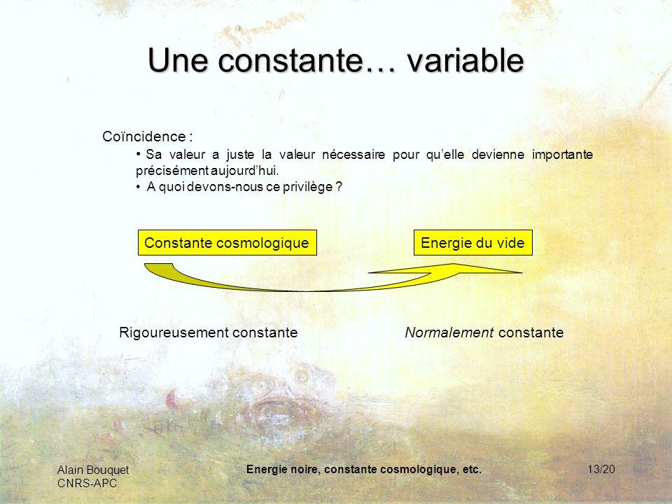Alain Bouquet CNRS-APC Energie noire, constante cosmologique, etc.14/20 Lénergie du « vide » La mécanique quantique nous apprend que les ondes sont aussi des particules, et vice-versa : tous deux sont des aspects différents du même champ.